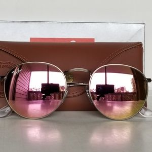 Ray Ban round brushed bronze /copper pink mirror